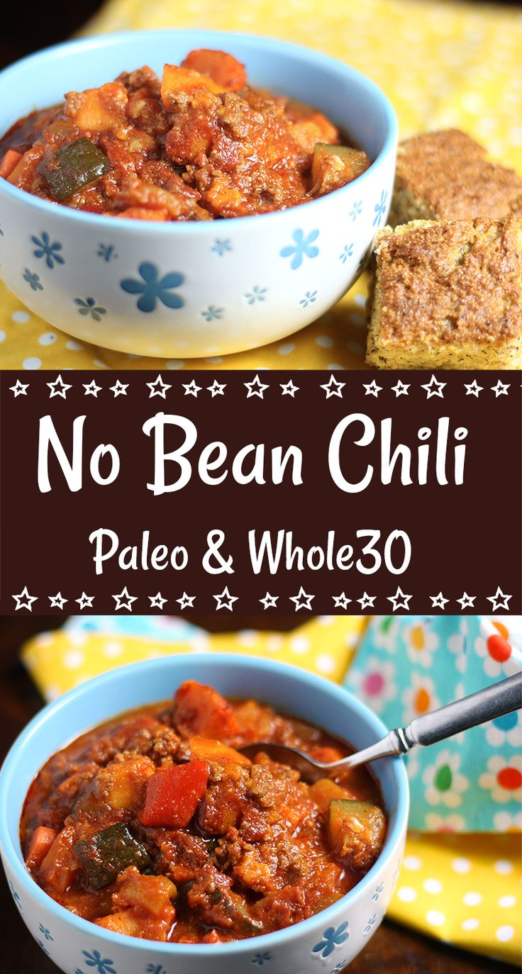 This delicious homestyle no bean chili replaces traditional kidney beans with hearty chunks of fresh vegetables.