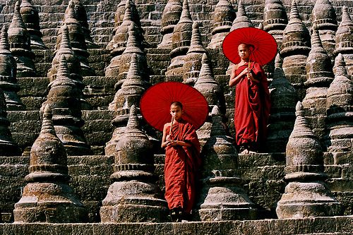 Buddhist monks. Mrauk U, Myanmar.
