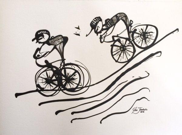 Cyclists on paper 2 of 3 #cyclist #sports #glenjosseloshn #art #painting http://www.glenjosselsohn.com