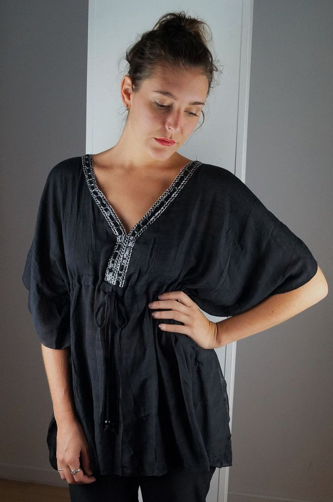 v-neck sequence kaftan blouse top black