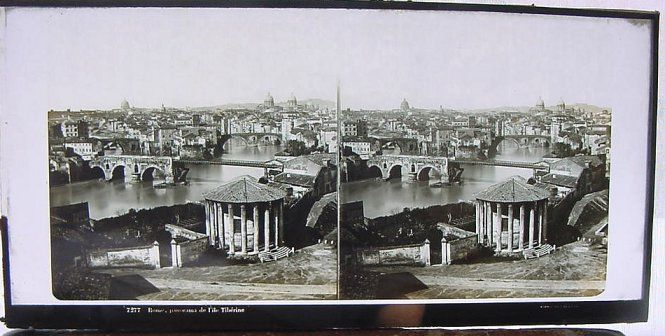 Stereograph view of the Tiber and Rome
