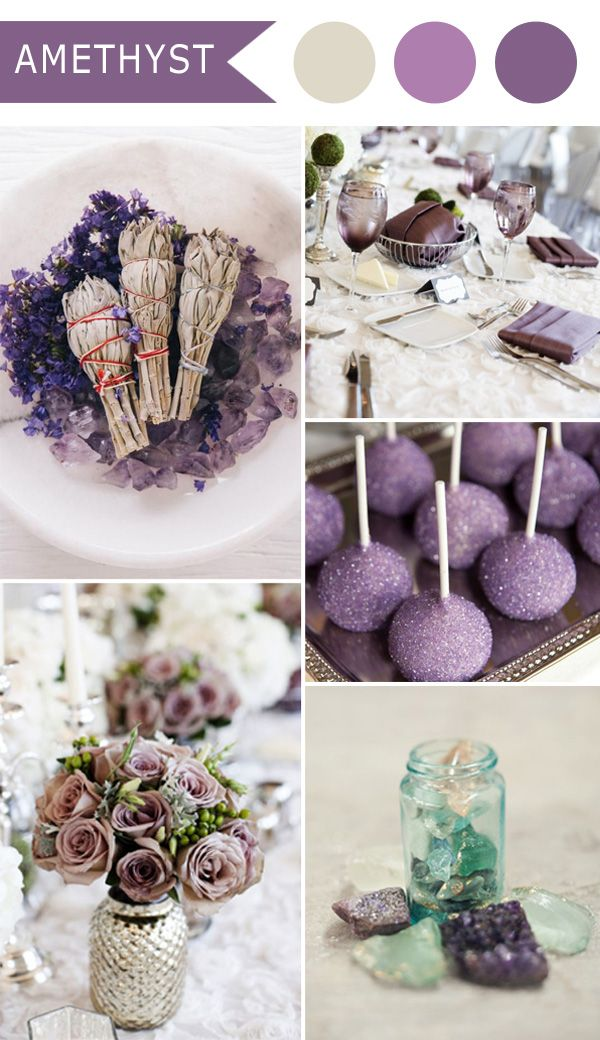 vintage amethyst purple elegant wedding color schemes