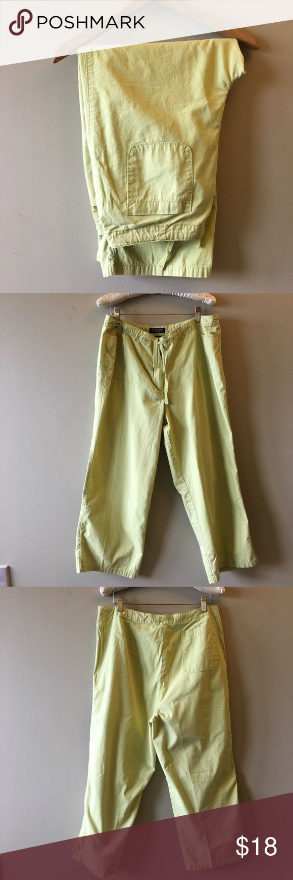 "NY & Co lime green loose fit drawstring capris Excellent condition, no stains or flaws. Loose fitting capris with drawstring. 24"" inseam. New York & Company Pants Capris"