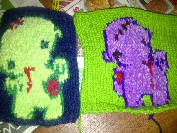 """""""Zombie buddies""""...panels that will become part of a blanket I am making for Laina"""