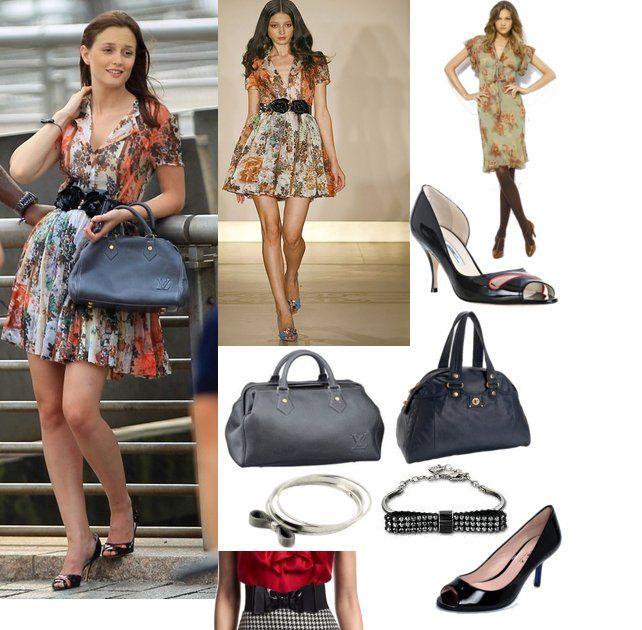 On Blair: Reem Acra Spring 2010 RTW Silk Floral Dress, Louis Vuitton Fall Cuir Cinema Neo Speedy Bag, Brian Atwood Black Patent 'Lexia' Pumps