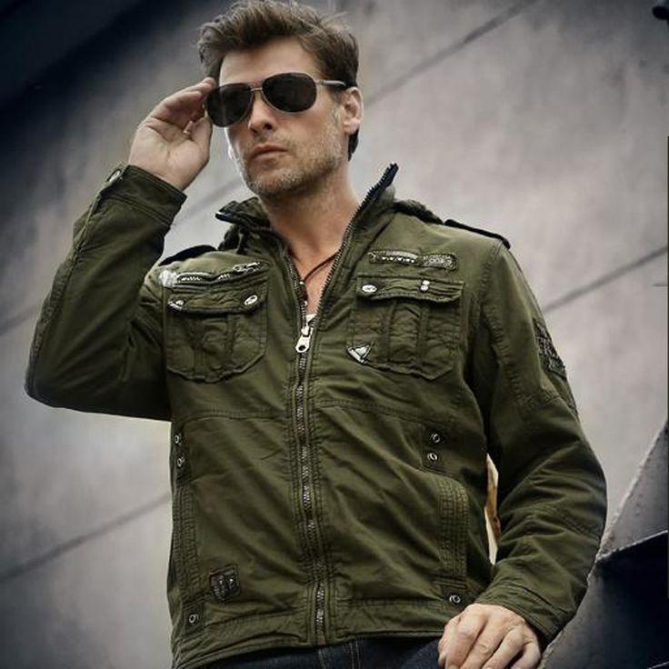 Купить товар2017 новых прибыть Осенью и зимой бархат мужской свободные куртка армии верхняя одежда повседневная военные нескольких карман мужчины пальто с капюшоном в категории Курткина AliExpress.  размер  длина (см)  %