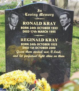 """Reginald and his twin brother Ronald Kray were leading figures in organised crime in London's East End during the 1950s and 1960s. The Krays were involved in armed robberies, arson, protection rackets, violent assaults including torture and the murders of Jack """"The Hat"""" McVitie and George Cornell. Chingford Mount Cemetery, Greater London"""