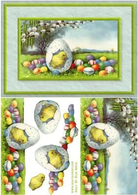 Easter Eggs Chick Quick Card on Craftsuprint designed by Russ Smith - A5 card front and decoupage layers using an image of a cute Easter chick coming out of it's egg, surrounded by multicolour eggs on a countryside background. - Now available for download!