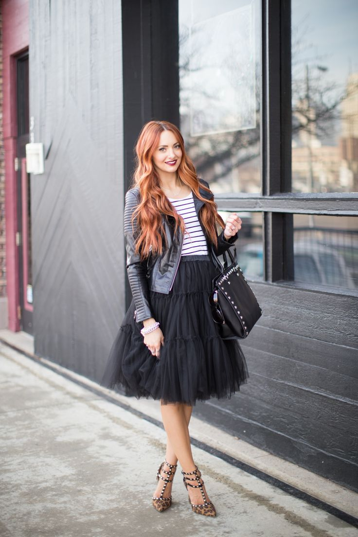 how to wear a black tulle skirt