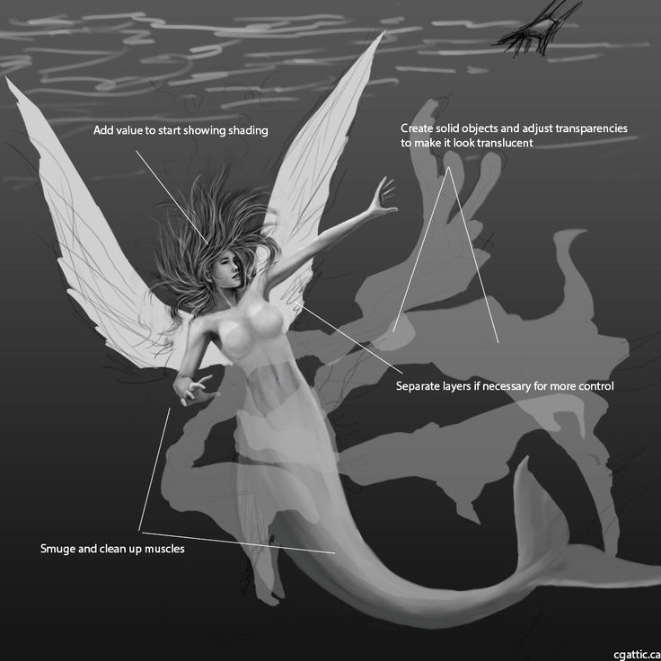 fantasy mermaid drawings 2: block in parts of muscle mass with a chalk brush, smudge that into place. Switch to a smaller brush for details and use the eraser tool to refine the boundaries of your mermaid object. Draw clothing on a different layer.