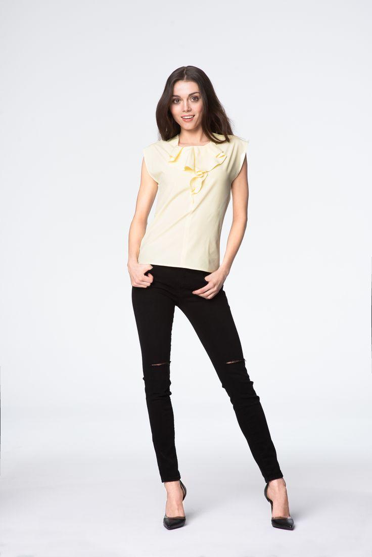 Żółta bluzka z falbanką