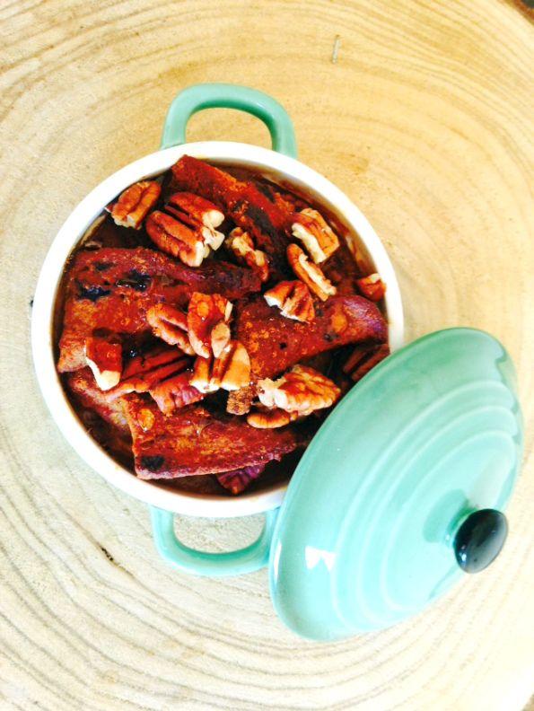 Pompoen-pecan broodpudding (glutenvrij en zuivelvrij)