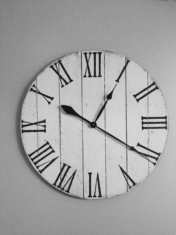 Antique White Pallet Clock  Wood Clock  by AveryTimeDesigns
