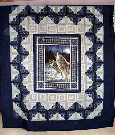 Wolf Calls Country Quilt - nice example of framing a panel