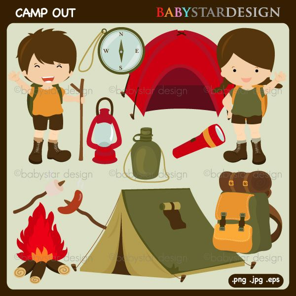 Camp Out Clipart - camping clipart featuring all the important clipart elements of a great camping trip.  Great for newsletters, web design, scrapbooking and more.