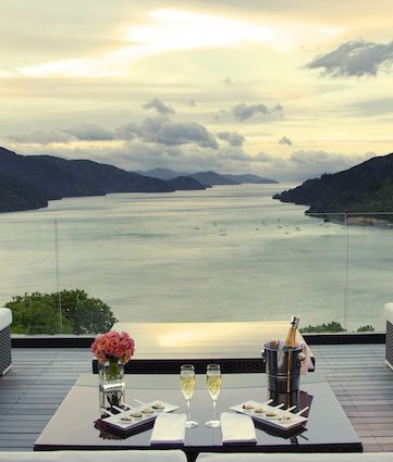 Drink in the panoramic views of the Queen Charlotte Sound. @Matt Nickles Valk Chuah Sounds Retreat, Marlborough, #NewZealand #winetasting
