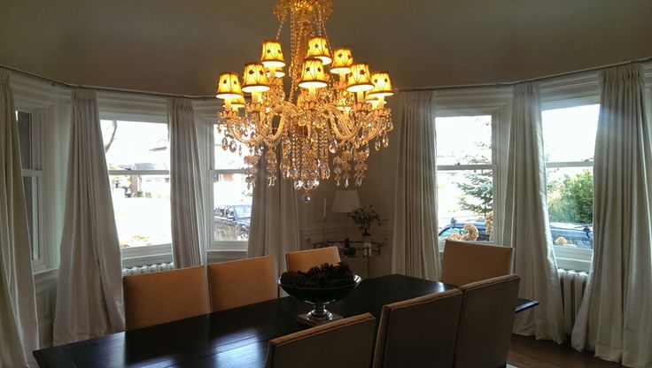 Silk draperies complete this classic dining room!