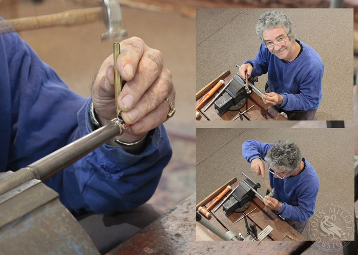 There are many variations of techniques and every jeweller would have their favourites. One stone setting technique that John employs is pictured here, where the ring is set up on the mandrel, and he uses a brass setting punch and a chasing hammer to push the bezel over the stone.