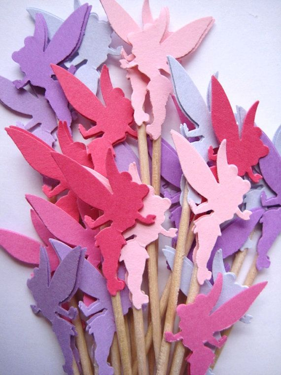 24 Pink - Purple Tinkerbell Party Picks - Cupcake Toppers - Toothpicks - Food Picks - die cut punch FP184