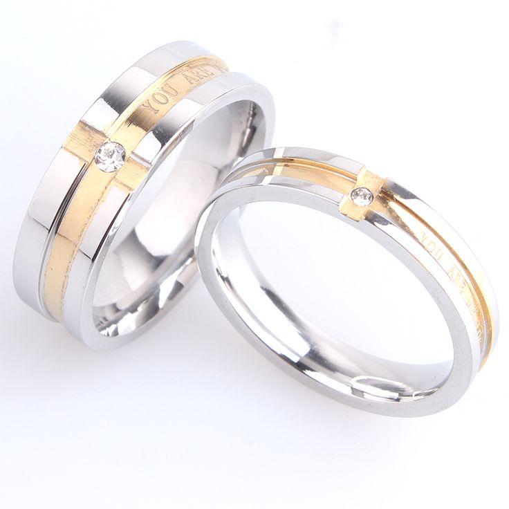 ТЫ МОЯ ЛЮБОВЬ Золотые полосы кристалл Нержавеющей Стали 316L обручальные кольца для мужчины женщины оптовая