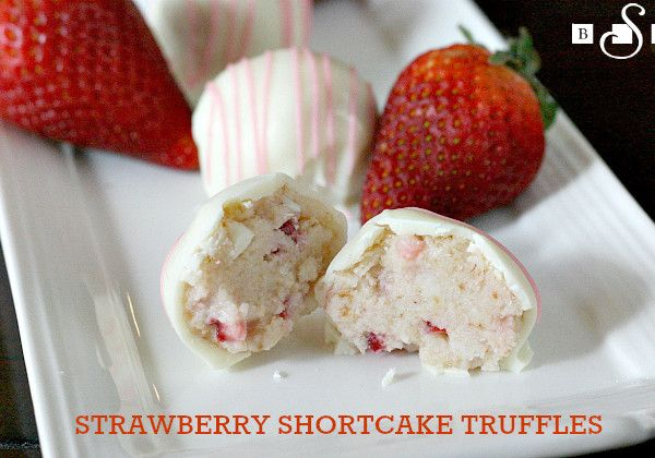 STRAWBERRY SHORTCAKE TRUFFLES Recipe Desserts with angel food cake, strawberries, whipping cream, cream cheese, powdered sugar, vanilla, white chocolate