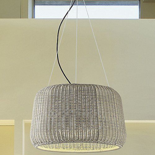 The Bover Fora Indoor/Outdoor Pendant offers a relaxed, transitional design without sacrificing durability. The woven polyethylene fiber outer shade adds a tropical flair to indoor and outdoor spaces alike. IP 55 rated with a UV-protected polyethylene inner shade and an anti-corrosive finish; this pendant is guaranteed to hold up against all weather conditions.