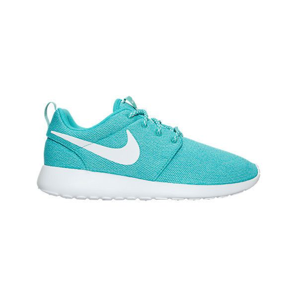 Nike Women's Roshe One Casual Shoes ($75) ❤ liked on Polyvore featuring shoes, athletic shoes, green, print shoes, nike, nike athletic shoes, wide shoes and green shoes