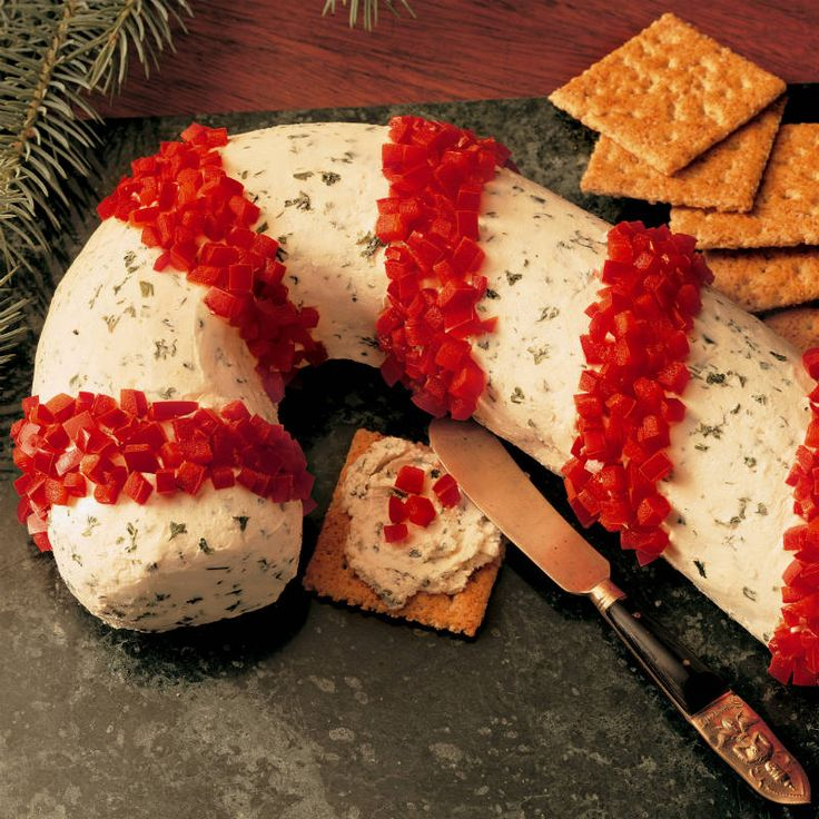 Guests will love cheese spread not only for its herb and garlic flavor, but for its very festive candy cane look on your holiday table.