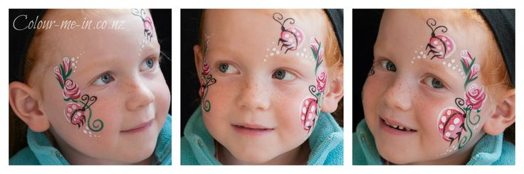 Roses and ladybirds, face painted by Stephanie, www.colour-me-in.co.nz. A sweet design for those with sensitive eyes, it also looks great with daisies.