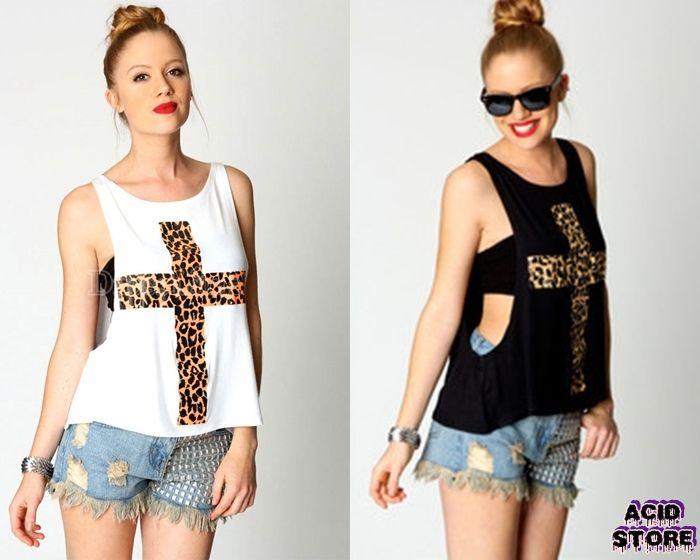 Camisa cruz animal print Color Negro - Blanco  Talla S - M - L $ 40.000