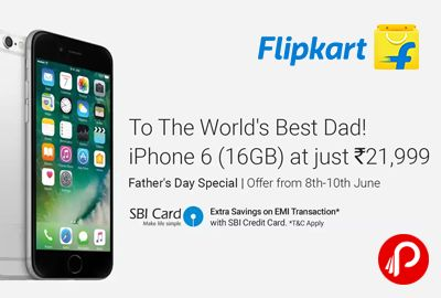 Flipkart brings #FathersDay #Special and offering 40% off on Apple #iPhone6 16 GB Space Grey at Rs.21999 Only. 16 GB ROM, 4.7 inch Retina HD Display, 8MP Rear Camera | 1.2MP Front Camera, Li-Ion Battery, Apple A8 64-bit Architecture, M8 Motion Co-processor Processor, 1 Year Manufacturer Warranty. Only for 8th – 10th June.  http://www.paisebachaoindia.com/apple-iphone-6-16-gb-space-grey-at-rs-21999-only-flipkart/