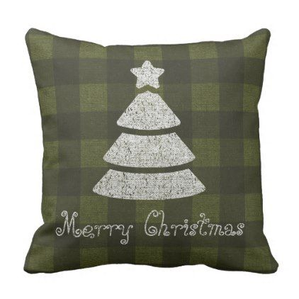 Christmas Tree Distressed Green Plaid Burlap Throw Pillow - diy cyo customize create your own #personalize