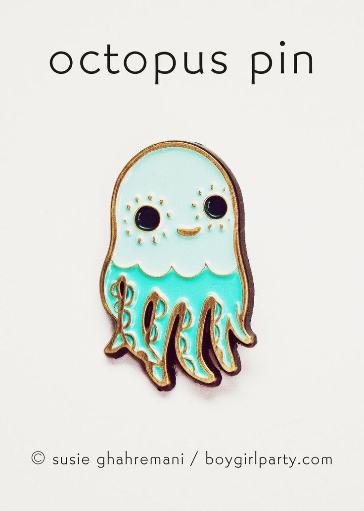 Octopus Pin Enamel Lapel Pin Squid Pin by boygirlparty