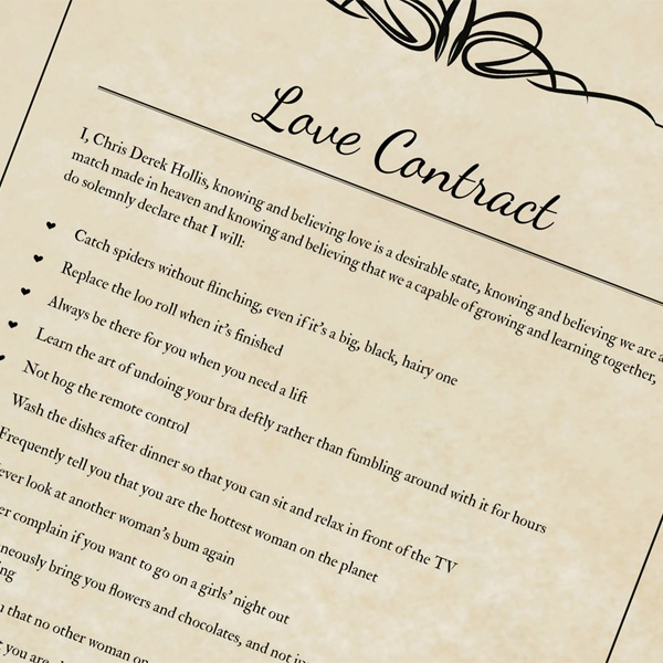 The Legally Binding Love Contract Valentine S Day