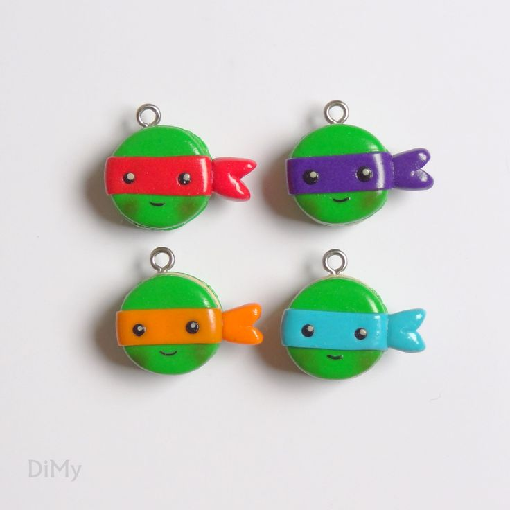 Fimo polymer clay Ninjas Turtles macarons/Macarons Tortues Ninjas