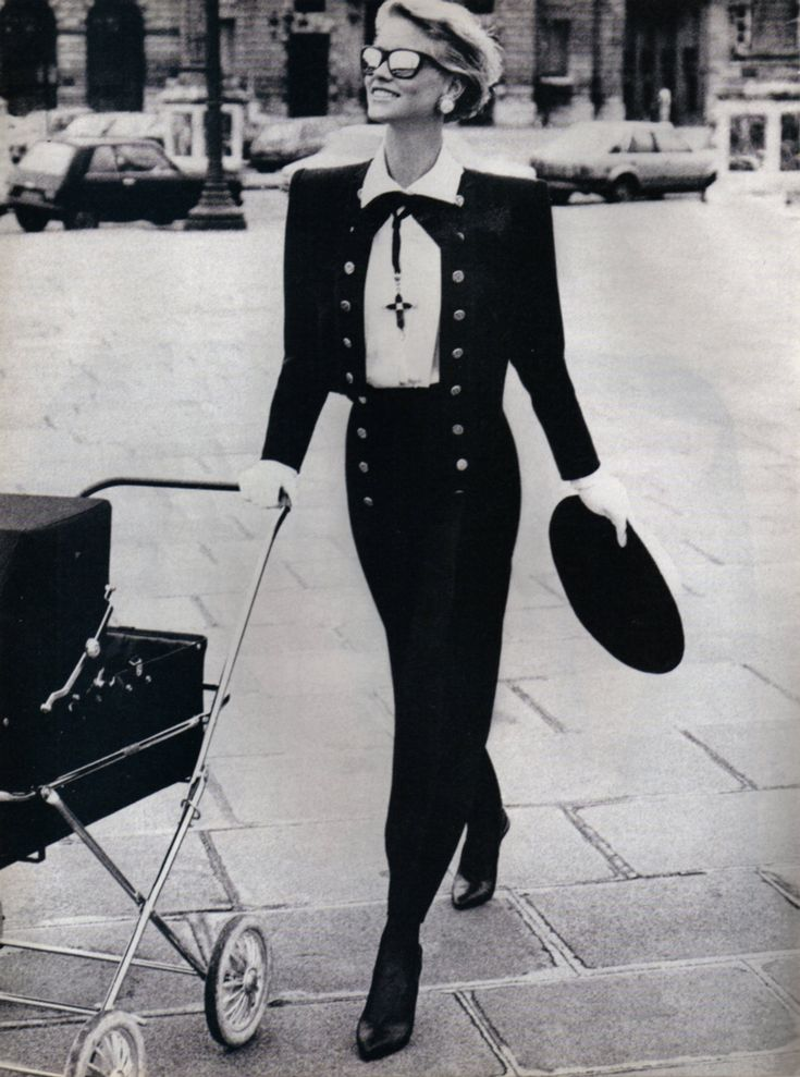 1984 - Yves Saint Laurent suit by Peter Lindbergh for Vogue                                                                                                                                                     More