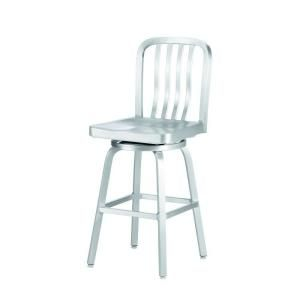 Home Decorators Collection Sandra 24 in. Brushed Aluminum Swivel Bar Stool-2478610440 - The Home Depot