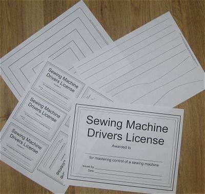 "Sewing machine practice sheets (pdf).  Learn to sew by following the lines.  Includes ""Sewing Machine Driver's License""!"