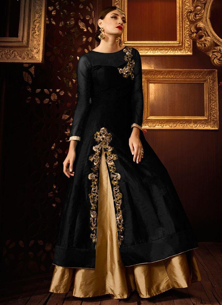 Buy Black color taffeta silk party wear lehenga at kollybollyethnics with free worldwide shipping.