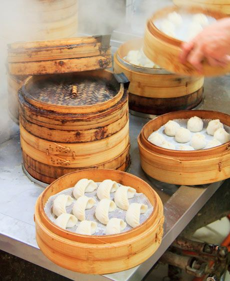 Bamboo Baskets with Dumplings.  Again Xi'an, China but also in Beijing and Shanghai, China.