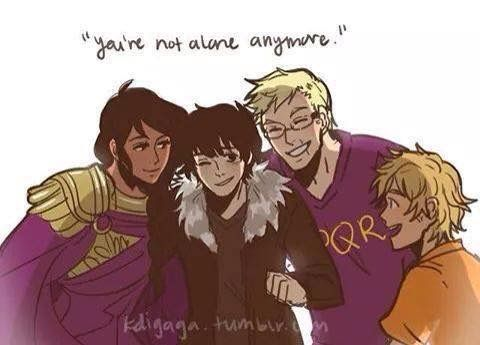 Nico Di Angelo, Jason Grace, Reyna and Will Solace