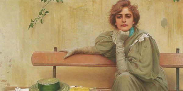 Questo meraviglioso quadro è forse l' opera più celebre del pittore livornese Vittorio Corcos (1859- 1933), ed è probabilmente più famosa  l'immagine,  di colui che l'ha dipinta. Realizzata nel 1896, la tela raffigura Elena Vecchi, figlia di un amico del pittore, ed il ritratto, poi  diventato uno dei simboli della Belle Époque,  colpi' subito molti per l'originalità compositiva e lo sguardo cosi' inquieto della protagonista. Abbiamo scelto proprio questa figura femmi...
