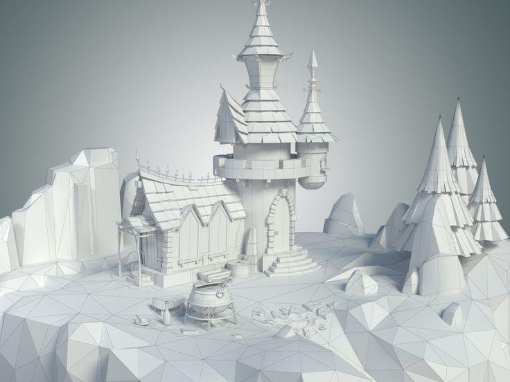Low Poly Stylized Castle Environment - 3d model - CGStudio