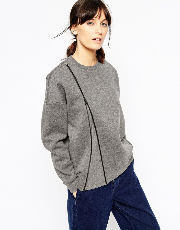 Image 1 ofASOS WHITE Sweater with Zip Detail