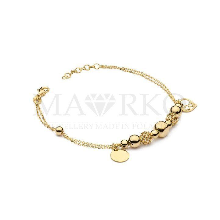 Pozlacana Bransoletka Charms Zawieszki Serce Kolko Koraliki Jewelry Gold Gold Bracelet