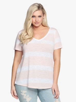 Striped Double V-Cut Tee