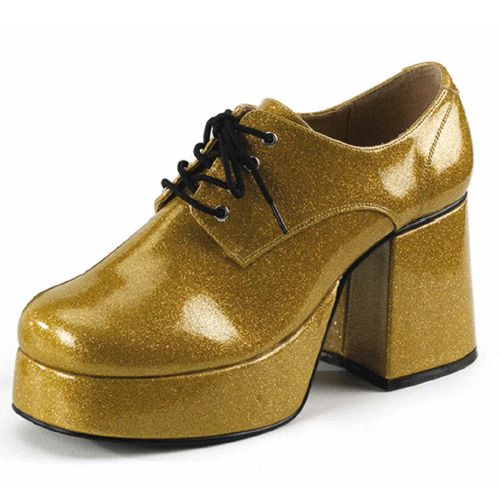 Gouden glitterschoenen heren. Deze grote gouden glitterschoenen zijn ideaal bij uw feest outfit! Met hoge hak.