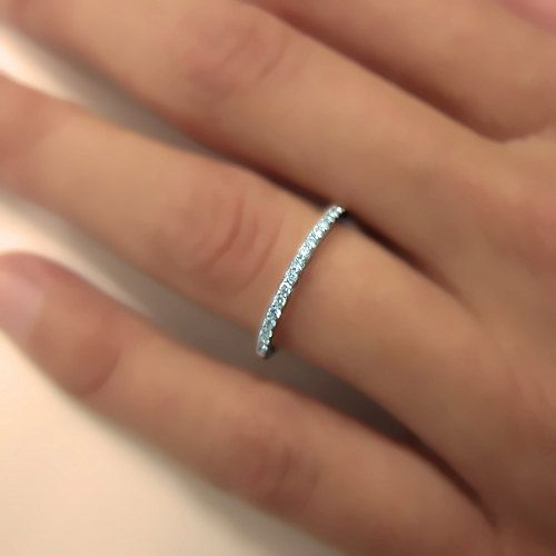 0.15 carats Natural Diamond Wedding Band 14k White Gold