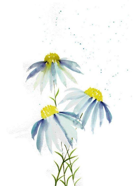 Marguerites Aquarelle Art Mural Bleu Peinture Au Pastel
