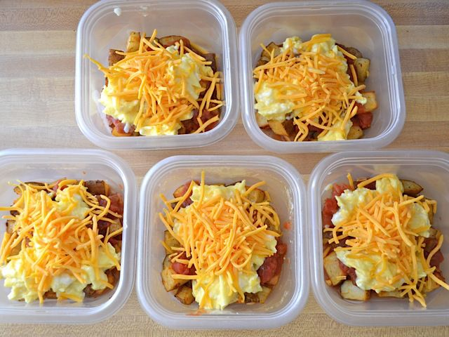 Potatoes, eggs, cheese, salsa. Can add meat. Microwave 1 minute, stir, then 30 second intervals until reheated well.